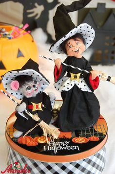 Adorable Polka Dot Witch Duo a top a decorative tin! See More at http://annalee.com/product-category/holidays/halloween/ @annaleedolls