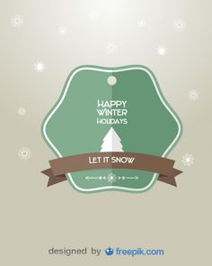Retro Badge Happy Winter Holidays Free Vector