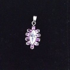 "Beautiful 1"" charm , Sterling silver Amethyst stones around a cubic Jewelry Necklaces"