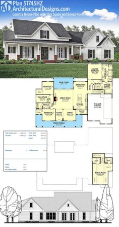Architectural Designs House Plan 51745HZ gives you 3 bedrooms and over 2,400 square feet of living. Ready when you are. Where do YOU want to build?