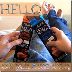 "A sweet ""Hello"" that has wowed me is Lindt HELLO Chocolate. This hip & trendy chocolate comes in sticks, bars and mini sticks. TrishSutton.com Review."