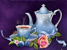 Moonbeam's Tea Time is an original digitally painted Tea themed resource complete with, roses, berries and a cupcake and rendered on colorful backgrounds. One Stroke Painting, Tole Painting, Fabric Painting, Tee Kunst, Image Deco, Diy And Crafts, Paper Crafts, Indian Artist, Tea Art