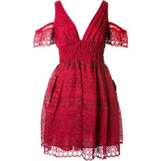 Self-Portrait Mini Dress Crafted From Cutwork Embroidery In Raspberry... (€380) ❤ liked on Polyvore featuring dresses, red dress, short sleeve dress, short red dress, mini dress and cold shoulder dresses