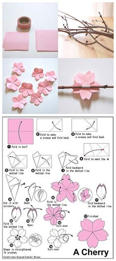 DIY Origami Cherry