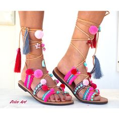 Pink Pom Pom Sandals, Leather Sandals, Gladiator sandals, Greek... (2 620 ZAR) ❤ liked on Polyvore featuring shoes, sandals, summer shoes, bohemian sandals, pink shoes, leather sandals and pom pom sandals