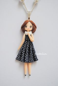 Vintage chibi doll polymer clay necklace. By Katalin Handmade (2013) #polymerclay #doll #fimo #chibi  #vintage #kawaii #polymerclaycharm #kawaiicharm #charm