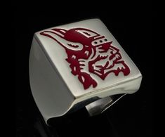 sterling silver rings with medieval designs marked 925 Vikings, Sterling Silver Rings, Medieval, Enamel, Red, The Vikings, Isomalt, Enamels, Middle Ages