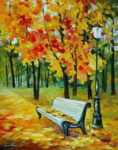 Canvas Painting - White Bench - Landscape oil painting on canvas by famous artist Leonid Afremov. Autumn Painting, Autumn Art, Oil Painting On Canvas, Canvas Wall Art, Painting Trees, Painting People, Painting Flowers, Painting Abstract, Painting Art