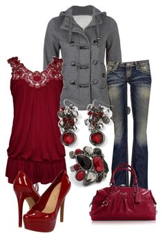 """""""Dark Red and Gray"""" by sarah-jones-3 ❤ liked on Polyvore featuring Full Tilt, Big Star, Jessica Simpson, White House Black Market and MOOD"""