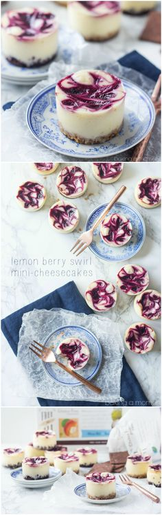 So cute and completely gluten-free :)Lemon Berry Swirl Mini-Cheesecakes! So cute and completely gluten-free :)ad Mini Desserts, Just Desserts, Dessert Recipes, Allrecipes Desserts, Mini Cheesecake Recipes, Jello Desserts, Gluten Free Cheesecake, Awesome Desserts, Cheesecake Cupcakes