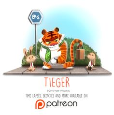 Daily Paint 1455. Tieger by Cryptid-Creations.deviantart.com on @DeviantArt