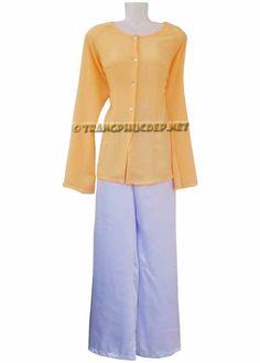 Áo vải muslin màu vàngnhạt, quần phi trắng hoặc phi đen. Thích hợp để hát múa các bài hát nam bộ, diễn tiểu phẩm.  http://trangphucbongsen.com/cho-thue-trang-phuc/ao-ba-ba-b32-p73
