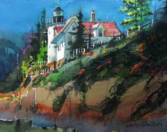 """DAVID RANKIN WATERCOLORS """"Bass Harbor Light"""" - I use this image of the famous Bass Harbor Head Lighthouse, up in Maine, in some of my training workshops to train artists in how to shift the focal point of a painting from one location to another. In this case I wanted the focal point of interest to be in the middle distance. And I've taken artistic liberties with the structure of the lighthouse to enhance the drama of the light."""