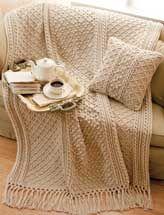 Irish Knit-Style Afghan & Pillow