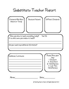 Great Substitute Teacher Feedback Form. Great way to hear how the day went while you were gone!