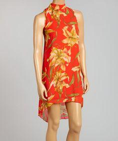 Look what I found on #zulily! Red Floral Tie-Neck Sleeveless Dress #zulilyfinds
