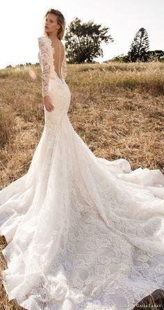 gala galia lahav spring 2017 illusion long sleeves deep vneck mermaid lace wedding dress (703) bv low back long  train