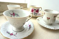 Set of four perfectly mis-matched vintage tea cups and saucers - all with roses designs. Perfect for a Rose themed Vintage High Tea Party. An instant vintage party with these four gorgeous pieces. Fantastic starter set for building your vintage high tea collection or to give as a gift to someone wanting their own high tea set.   Check out my other vintage high tea listings for more pieces and combine to save on shipping! http://www.etsy.com/shop/MyCupOfRetro?section_id=19188623  For Vintage…
