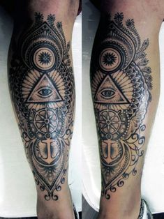 Eye And Anchor Leg Tattoos ForGuys