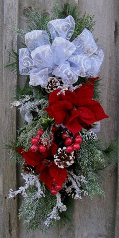 Christmas Swag, Holiday Wreath, Elegant Christmas Décor, Designer Wreath, Frosted Pine, Poinsettia Swag