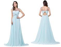Light Sky Blue Backless Chiffon Long Beaded Prom Dresses SM1