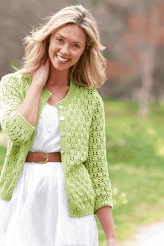 Crochet Cardigan, Knit Crochet, Knitting Patterns, Green Fashion, Tunic Tops, Pullover, Sweaters, Cardigans, Jackets