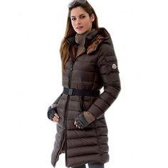Moncler Mokacine Classic Zip Belt Style Coats Womens Down Brown