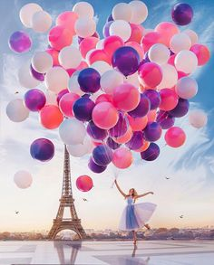 Paint by Number Kit - Ballerina holding balloons in Paris Eiffel Tower. by OurPaintAddictions Balloon Painting, Diy Painting, Paris Painting, Paris Wallpaper, Paris Photography, Balloons Photography, Eiffel Tower Photography, Photography Quote, Ballet Photography