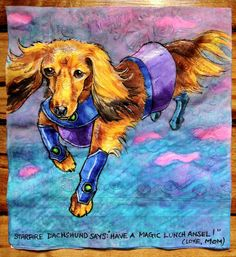 Artist draws superpowered canines on her sons lunch napkins
