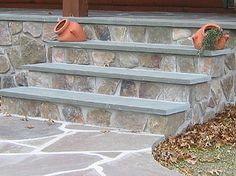 Love The Solid Slate Tops Front Steps Stone Brick Concrete Porch
