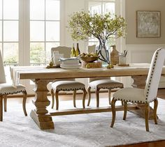 Banks Reclaimed Wood Extending Dining Table | Pottery Barn #diningtable #diningchairs