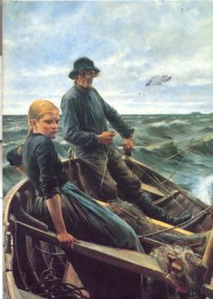"Albert Edelfelt: ""At Sea"" (1883) - In Salon the painting ""At Sea"" was considered the best work of the Nordic region of the year 1884. It was bought by the Swedish art collector Pontus Fürstenberg.Edelfelt was elected member of the Academy of Art in Denmark and Sweden."