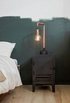 St. Petersburg apartment bedroom with a copper table lamp