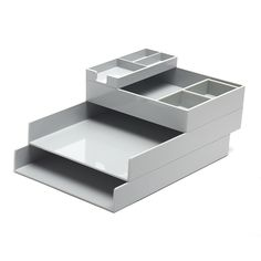 Poppin Light Gray Desk Accessories | Cool and Modern Office Supplies #workhappy