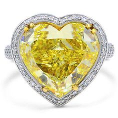 2d3878109105 Detalles acerca de Diez Quilate Fantasía Amarillo Forma de Corazón Anillo  Compromiso Diamante