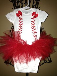 Baseball Shirt, Baseball Onezie with Tutu, Child Bodysuit by TippyToadsBoutique on Etsy Blaine Ennis this is for you!