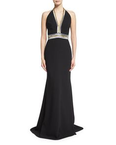 TBCAM Carmen Marc Valvo Sleeveless V-Neck Embellished Column Gown