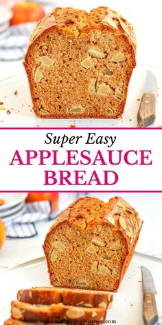 This easy Apple Loaf Cake with Applesauce and chunks of Apples is super quick and easy to make. The spiced apple bread makes a delicious Fall or Winter dessert to be enjoyed with your afternoon tea or toasted for breakfast. The applesauce bread is packed with apple chunks and topped with flaked almonds for a deliciously sweet, moist and crunchy texture! Applesauce Bread, Apple Cinnamon Bread, Apple Bread, Easy Cake Recipes, Apple Recipes, Baking Recipes, Dessert Recipes, Bread Recipes, Pear And Apple Crumble