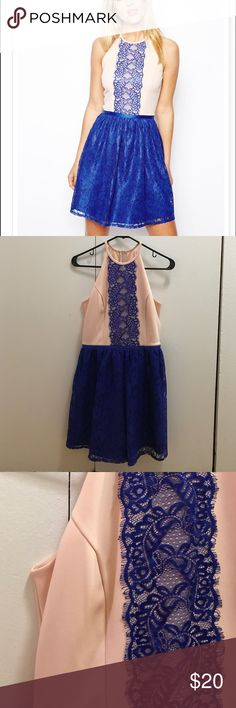 ASOS Scallop Halter Lace Mix Skater Only worn once to a wedding! Perfect condition. Nude/cobalt. ASOS Dresses