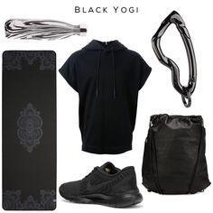 Black Yogi  Clockwise: Noir Zebra Bottle by S'well, Hoodie by JUUN.J, Arcus carabiner by SVØRN, Gym Sack by Alexander Wang, Sneakers by NIKE, Yoga Mat by PRANA   #yoga #style #black #allblack #yogastyle #yogaclothes #alexanderwang #luxury ##accessories #sneakers #gym