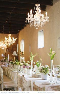 Romantic white wedding reception