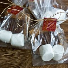 S'more fun for later! Maybe tie with a red paisley ribbon? Or in a red bandana with a stick?