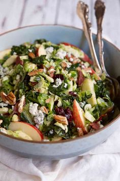 This healthy recipe for shredded brussels sprouts & kale salad with apples, gorgonzola and candied pecans makes a spectacular holiday side or healthy meal.