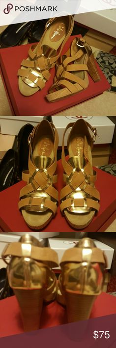 COLE HAAN Unique two tone Camel Gold Heels Only worn 2 or 3 times no signs of wear other than bottom soles. Beautiful Cole Haan Nike Air Camel and gold leather sandals size fits 7 too Cole Haan Shoes Platforms Leather Sandals, Shoes Sandals, Gold Heels, Cole Haan Shoes, Gold Leather, Final Sale, Platforms, Camel, Nike Air
