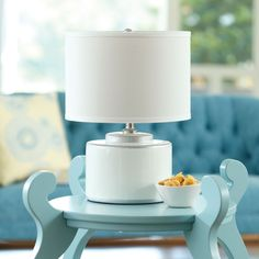 Basin Table Lamp White and Silver | Maine Cottage