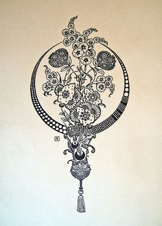 antique floral illustration - would make a lovely tattoo in royal blue Pretty Tattoos, Love Tattoos, Tatoos, Tattoo Fleur, Blackwork, Bel Art, Art Nouveau, Henne Tattoo, Muster Tattoos