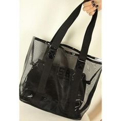 Womens Black Transparent Mesh Jelly Shoulder Bag