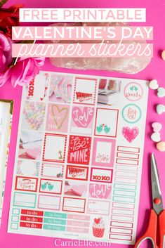 These Printable Valentine's Day Planner Stickers are the perfect way to dress up your planner or scrapbook for Valentine's Day! Meal Planning Printable, Valentine's Day Printables, Printable Planner Stickers, Sticker Organization, Planner Organization, Blog Planner, Happy Planner, 2015 Planner, Valentines Food
