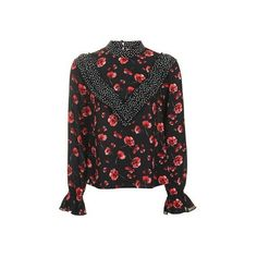 TopShop Topshop Reclaim Poppy Print Blouse ($90) ❤ liked on Polyvore featuring tops, blouses, black, floral blouse, long tops, cut out top, polka dot top and cut out blouse
