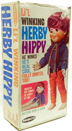 "Remco's 1968 Li'l Winking Herby Hippy (""Squeeze his tummy, & he winks at you"") (I have nothing to add)"